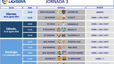 Horarios de la 3ª jornada en la Liga BBVA