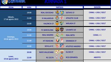 Horarios de la 1ª y 2ª jornada de la Liga BBVA de fútbol