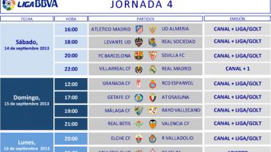 Horarios de la 4º jornada en la Liga BBVA