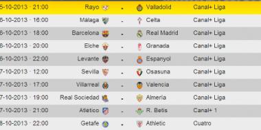 Horarios de las jornadas 10ª, 11ª y 12ª en la Liga BBVA de fútbol español