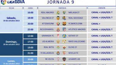 Horarios 9ª jornada de Liga BBVA de fútbol